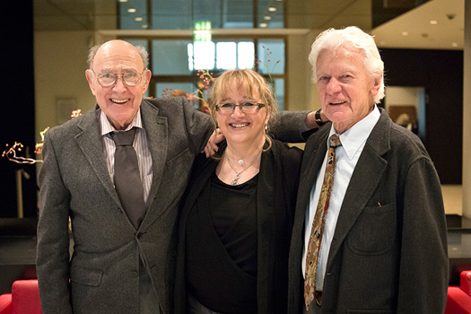 Herb Geller (l.) with his daughter Olivia an his friend and colleague Ack van Rooyen at the celebration 90th birthday of Bert Kaempfert on 16. October 2013